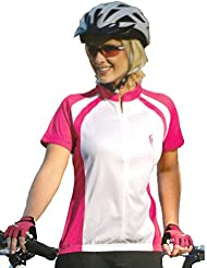 Mujer Camiseta de bicicleta con reflectante Impresión, Color blanco de color rosa, DA de AM 5197de color rosa