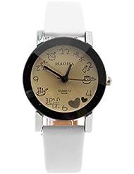 VANKER Dibujos animados muchacha de las mujeres de señora reloj de cuarzo Tiempo Puntero la correa de cuero reloj de pulsera Blanco