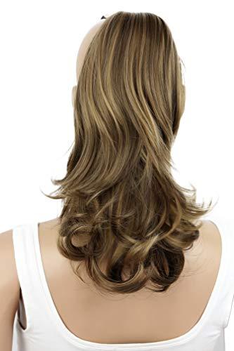 Kostüm Haar Fake - Haarverlängerung, 35 cm, 120 g, glatt, leicht gewellt, hitzeresistent, wirkt wie echt, Braun, gemischt, blond, brünett