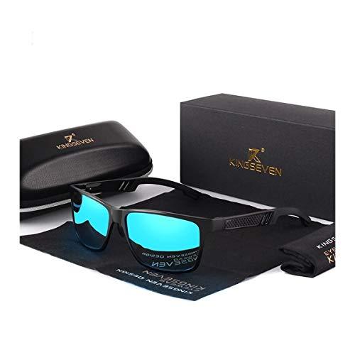 KINGSEVEN Verstellbare Sonnenbrille, 2019, rechteckig, polarisiert, UV400, ultraleicht, Al-Mg, (schwarz/blau), Medium