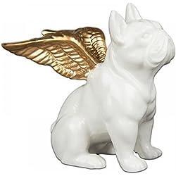 Hucha Bulldog Francés blanco de cerámica, perro con alas de ángel