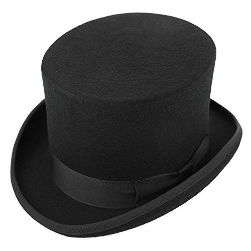 Deevoov Herren 100% Wollfilz Fedora Zylinderhut Flache Derby-Hüte Satin gefüttert Phantasie Party Kostüm Kopfbedeckungen wasserabweisend schwarz