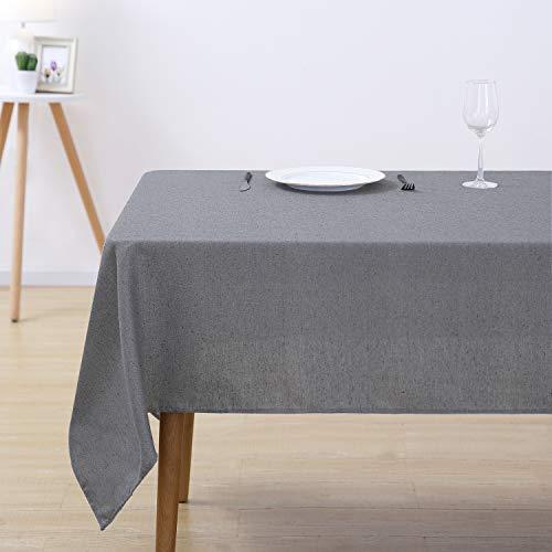 Deconovo Tischdecke Wasserabweisend Tischdecke Deko Tischtuch Lotuseffekt 140x200 cm Grau