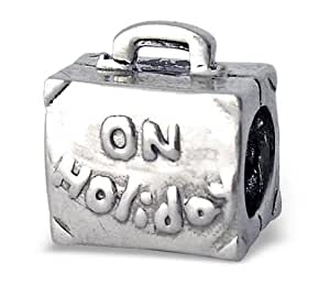 """On Holiday"" Suitcase Sterling Silver Bead - 10.8mm x 10mm 5mm hole"