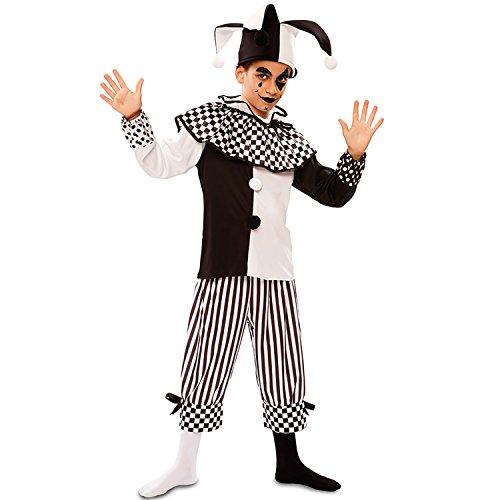EUROCARNAVALES Kinder Kostüm Harlekin Habakuk schwarz weiß Clown Pierrot Fasching Karneval (128)