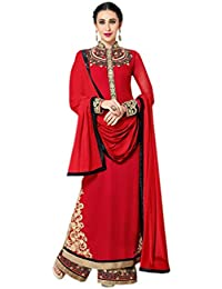 Shoppingover Embroidered Anarkli Suit in Red & Beige Color with lace