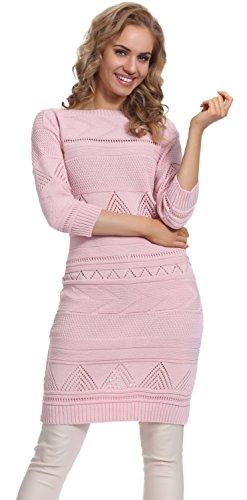 Merry Style Damen Strickkleid 72RR6 (Puderrosa, L/XL)