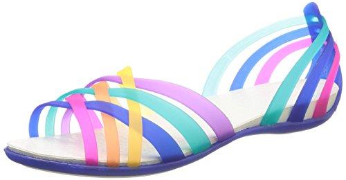 Crocs - Huarache Flat W, Sandali Donna Multicolore (Multi/Cerulean Blue)