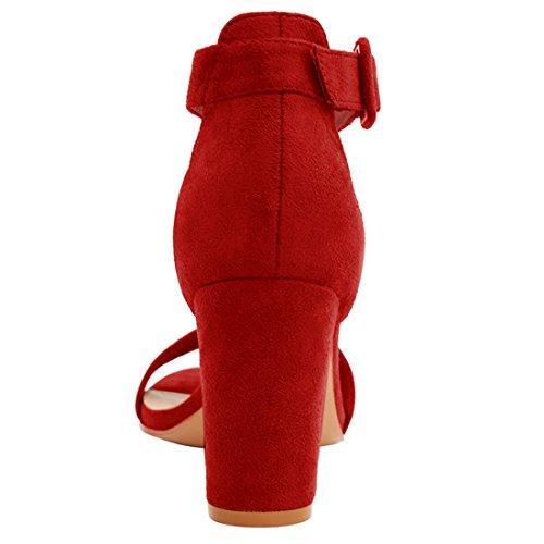 Allegra K Femme Talon Épais Sandales Sangle Cheville red