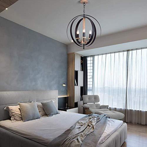 W-LI Industrieller Vintage Kronleuchter , E14 Einstellbar 3 Lichter Pendent Lampe für Wohnzimmer Flur Metall Dekoration Hängendes Licht Schwarz 48 * 69 cm -
