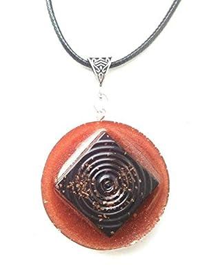 Orgone Orgonite pendant Spirale, Quartz, oxyde de fer, protection énergétique.