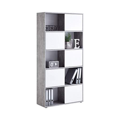 FMD Möbel Futura 2 Up 5-türiges Regal, Holz, beton / hochglanz weiß, 90 x 33 x 182 cm - 2 Tür Bücherregal
