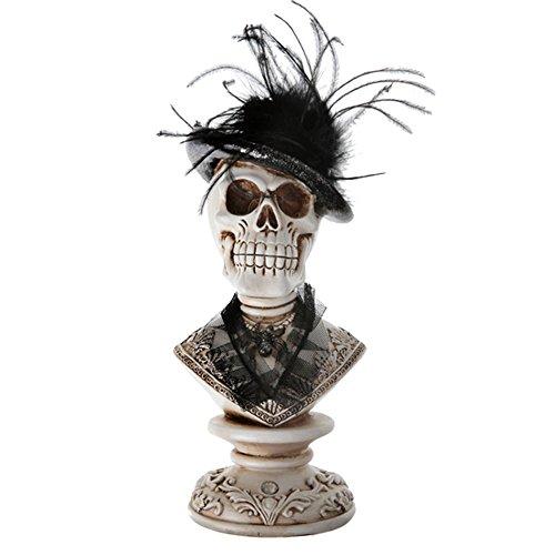 Halloween Totenkopf Büste / Deko-Figur - Skelett Zombie Gothic Skull Deko Figur-Halloween - Maße: 13 x 27 x 13 cm