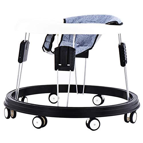 Lauflernhilfe kann zusammengeklappt werden, Kinderstuhl kann eingestellt werden, acht Universalräder sind Anti-Rollover, geeignet für 6-18 Monate Baby (Grau)