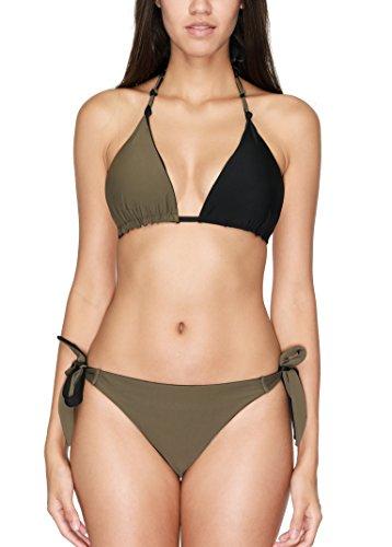 Charmo Push Up Bandeau Bikini Set Damen Pushup Badeanzug viele Farben und Größen Neckholder Olive Grün L