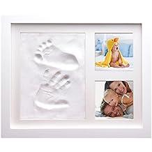 """Baby cornice Hand and footprint kit/kit stampa semplice e facile da usare, sicuro e non tossico/New Baby Gift and Baby """"/mani e piedi casting con pasta modellabile/Great Baby Shower Gift, regalo per battesimo o un personalizzato Baby Gift for your own Little One–Get Printing."""