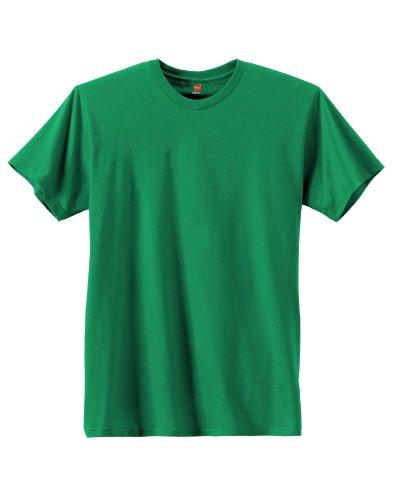 Hanes Mens Ringspun Cotton Crewneck Nano-T T-Shirt Kelly Green