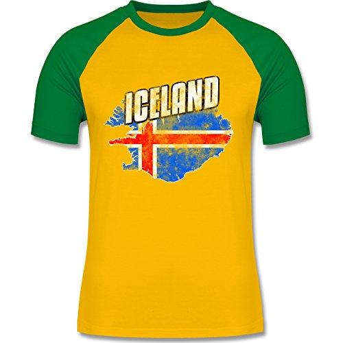 EM 2016 - Frankreich - Iceland Umriss Vintage - zweifarbiges Baseballshirt für Männer Gelb/Grün