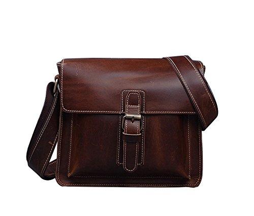 Genda 2Archer Borsa Messenger Bag in Pelle Classica (25cm * 7 cm* 22 cm) Light-Caffè