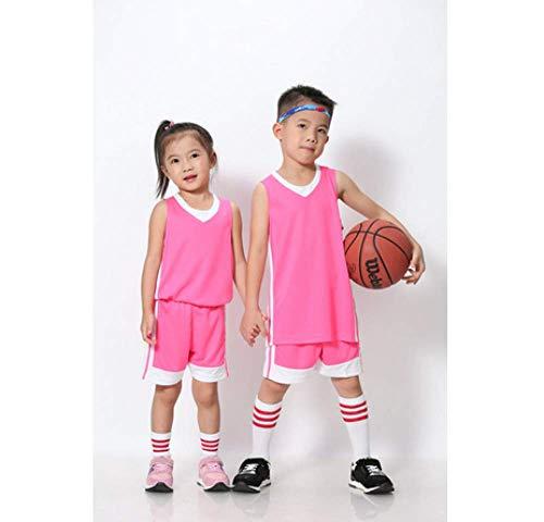 XIAOL Kinder Basketball Jersey Sets Uniformen Kits Kind Jungen Mädchen Sport Kleidung Atmungsaktiv Jugend Training Basketball Jerseys Shorts,Pink-XXS