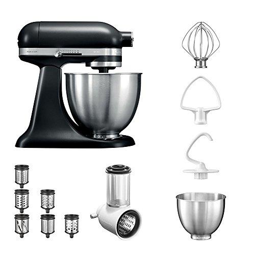 KitchenAid Küchenmaschine | VORTEILS SET | Mini 5KSM3311XE Veggie S Paket | mit TOP Zubehör: Gemüseschneider mit drei Trommeln sowie zusätzlichem Raspel und Reibenpaket mit 3 weiteren Trommeln (Matte Black) Mini-küchenmaschine Reibe