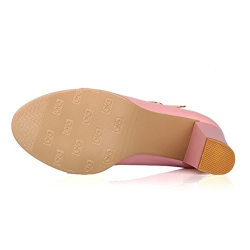 Senhoras Alto Bombas Salto Fivela Allhqfashion Misturada rosa Sapatos Cor Pu de De Uxwqa4wd