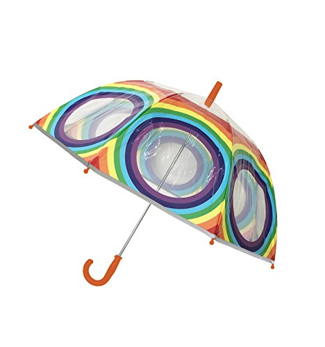 SMATI Parapluie enfant transparent cloche - Bordure fluorescente - Anti-Vent - 8 baleines fibres