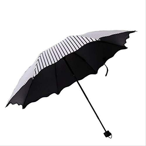 BUDIAN Regenschirm Vertical Stripe 3 Folding Umbrella Uv Anti-Sun Umbrella Windproof Black Coating 8K ParasolWhite