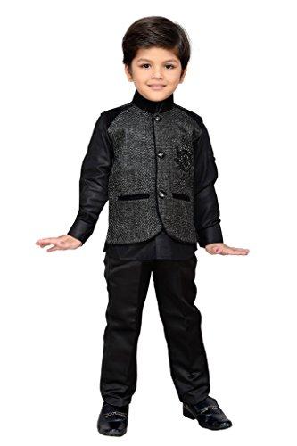 AJ Dezines Kids Party Wear Suit Set for Boys (616_BLACK_3)