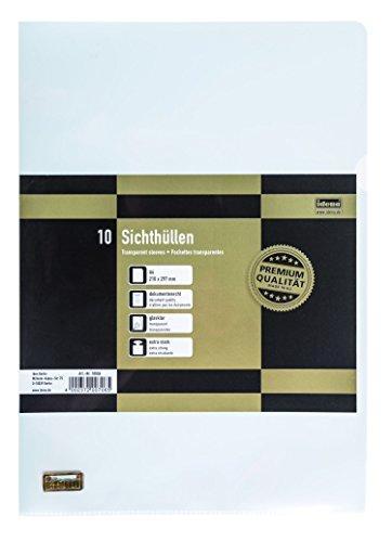 Idena 10006 - Sichthüllen DIN4, 10 Stück, aus PP-Folie, Folienstärke 0,12 mm, extra stark, dokumentenecht, transparent, glasklar