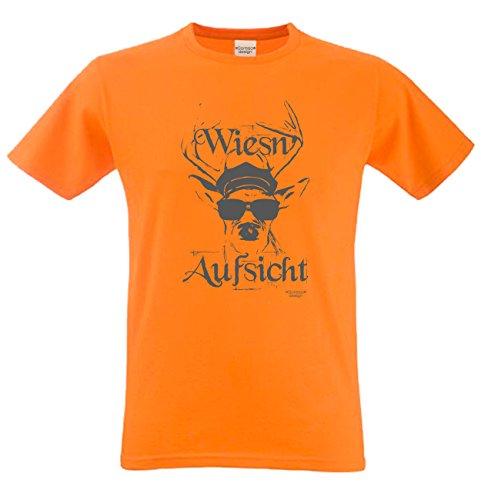 Witziges-Herren-Sprüche-Fun-T-Shirt cooles Volksfest Oktoberfest Party Outfit Motiv Wiesn - Aufsicht auch in Übergrößen Farbe: orange Orange