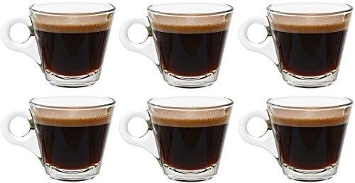 idea-station Cone Espresso-Tassen mit Henkel 6 Stück, 80 ml transparent, Espresso und Mokka Gläser-Set 6-teilig mit Griff als Esprosso-Gläser Espresso-Cup Mokka-Tassen Mokka-Gläser einsetzbar, ideal für Espresso Shot