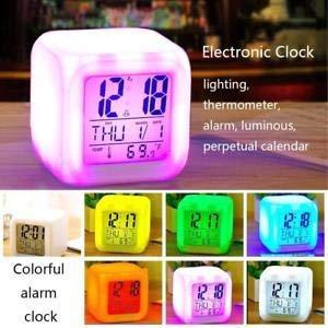 Digital Alarm Clocks Kids California Grizzly LED Night Glowing Cube LCD Clock Bedroom Bedside Clocks