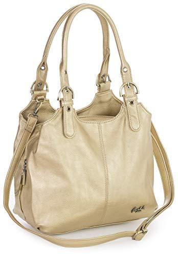 Big Handbag Shop Mehrfachtaschen Mittlere Größe Umhängetasche/Schultertasche für Frauen - Mit langem Schulterriemen - AMELIA (Mabel - Metallisch Gold) (Designer Tasche Tasche 2 Schulter)