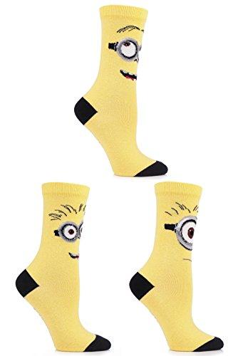 SockShop Frauen 3 Paar Despicable Me Minions Gesichter Socken aus Baumwolle 6,5-10,5 Gelb (Socken Damen Farbton)