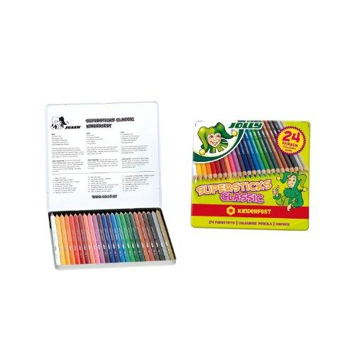 Jolly Buntstifte Supersticks Classic, in Metalletui, mehrfarbig (24 Stück)