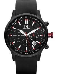 Danish Design DZ120180 Armbanduhr für Herren, analoges Display, Quarz, Kautschukband, schwarzes Zifferblatt und Armband