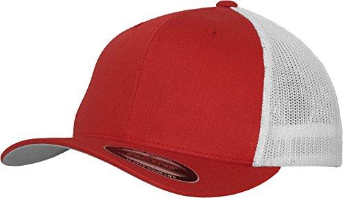 Flexfit Mesh Trucker Cap 2-Tone - Unisex Baseballcap für Damen und Herren, Farbe Red/White, L/XL