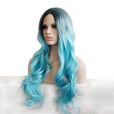 Frauen synthetische Perücke lange lockige Rauch blau dunkle Wurzeln natürlichen Haaransatz Ombre Haar Mittelteil capless Perücke Halloween Perücke Karneval Perücke