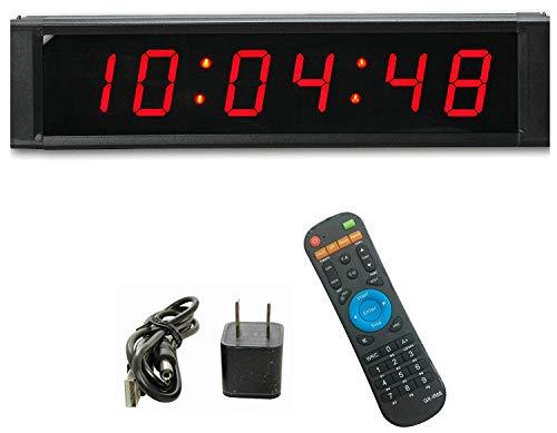 ganxin Multifunktional 2,5cm Hohe 6Ziffern LED Wanduhr, mit Countdown/Up Digital Timer, 12/24-Stunden Real Time Uhr, Stoppuhr von Fernbedienung -