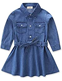 Vestido De Mezclilla para Damas Camisa Vaquera De Niña Bebé Vestido De Manga  Larga Ropa para 17912b05a498