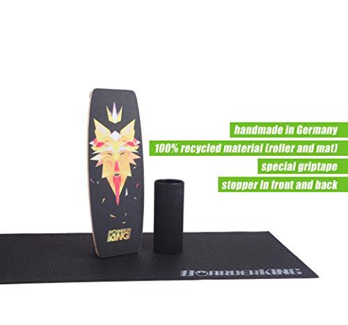 BoarderKING Indoorboard Indoor Skateboard Surfboard Trickboard Balanceboard - Balance Board Indo Board (Wave, 125mm Rolle)