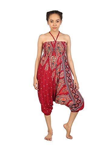 Lofbaz Damen Hippie Boho Hose 2 in 1 Haremshose & Jumpsuit Aladinhose Pumphose Floral 2 Burgund