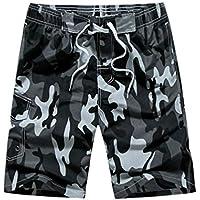 Pantalones cortos de verano de camuflaje para hombres con bolsillos Trajes de baño de secado rápido Pantalones cortos de baño elásticos ocasionales Pantalones cortos de tabla de surf de playa - Gris L