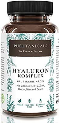 Hyaluronic Acid Capsules High Dose Laboratory Tested - 350mg HYALURON + Vitamin C, B12, Zinc, Biotin, Niacin, Selenium | Anti-Ageing Hair Skin Nails | Vegan made in Germany without Magnesium Stearate