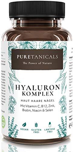 Hyaluronsäure Kapseln hochdosiert laborgeprüft - 350mg Hyaluron + Vitamin C, B12, Zink, Biotin, Niacin, Selen | Anti-Aging Haut Haare Nägel | Vegan hergestellt in Deutschland ohne Magnesiumstearat -