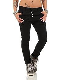 5285 Fashion4Young Damen Jeans Röhrenjeans Hose Damenjeans Boyfriend Baggy Harems Jeans