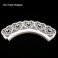 DoMoment 50 unids Laser Cut Cupcake Wrappers Hollow Hearts Muffin Cake Cake Cup Cup Liner Wedding Party Liners Decoración