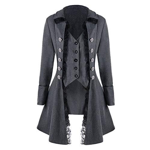 Damen Steampunk Gothic Barock Anzug Jacke Mantel Viktorianische Frack Mode Holloween Party Cosplay Kostüm Outwear Schwanzmantel mit Spitze (Holloween Kostüm Xxxl)