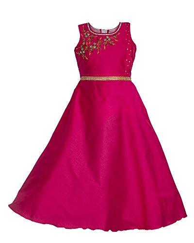 My Lil Princess Baby Girls Birthday Party wear Frock Dress_Twinkle Pink_Tafetta Silk_4-5...